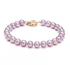 6-6.5mm AAAA Quality Freshwater Cultured Pearl Bracelet in Lavender