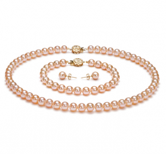 6-6.5mm AAAA Quality Freshwater Cultured Pearl Set in Pink