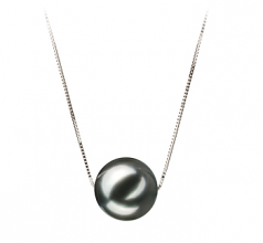 10-11mm AA Quality Tahitian Cultured Pearl Pendant in Kristine Black