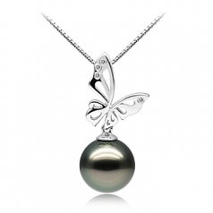 11-12mm AAA Quality Tahitian Cultured Pearl Pendant in Butterfly Black