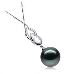 11-12mm AAA Quality Tahitian Cultured Pearl Pendant in Teardrop Black