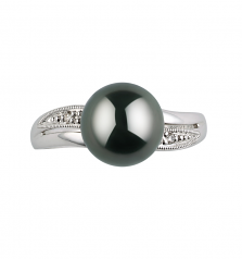 8-9mm AAA Quality Tahitian Cultured Pearl Ring in Caroline Black
