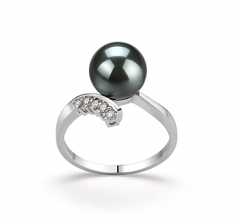 8-9mm AAA Quality Tahitian Cultured Pearl Ring in Grace Black