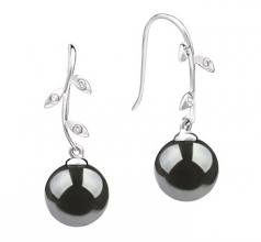 9-10mm AAA Quality Tahitian Cultured Pearl Earring Pair in Honora Black