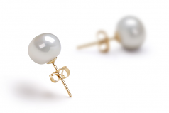 7-8mm AAA Quality Freshwater Cultured Pearl Earring Pair in White