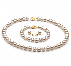 7-8mm AAA Quality Freshwater Cultured Pearl Set in White