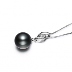 9-10mm AAA Quality Tahitian Cultured Pearl Pendant in Vita Black
