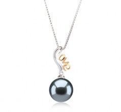 10-10.5mm AAA Quality Tahitian Cultured Pearl Pendant in Nelia Black