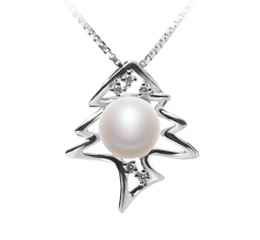 7-8mm AA Quality Freshwater Cultured Pearl Pendant in Fishbone White