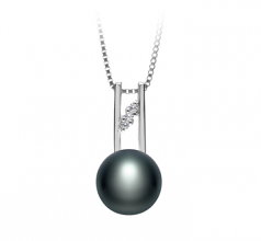 9-10mm AA Quality Freshwater Cultured Pearl Pendant in Hiriko Black