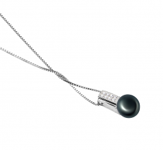 8-9mm AAA Quality Freshwater Cultured Pearl Pendant in Alina Black