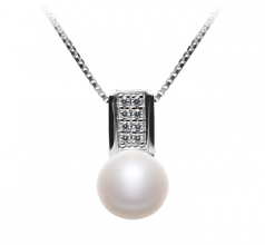8-9mm AAA Quality Freshwater Cultured Pearl Pendant in Alina White
