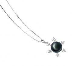 12-13mm AA Quality Freshwater Cultured Pearl Pendant in Besty Black