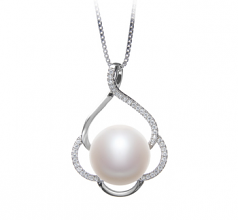 12-13mm AA Quality Freshwater Cultured Pearl Pendant in Alyssa White