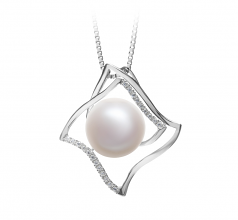 10-11mm AAA Quality Freshwater Cultured Pearl Pendant in Freda White
