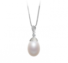 10-11mm AA - Drop Quality Freshwater Cultured Pearl Pendant in Kaylee White