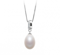 10-11mm AA - Drop Quality Freshwater Cultured Pearl Pendant in Karley White