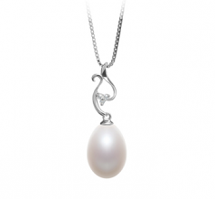 10-11mm AA - Drop Quality Freshwater Cultured Pearl Pendant in Benita White