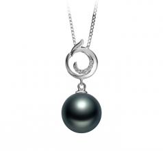 10-11mm AAA Quality Tahitian Cultured Pearl Pendant in Linda Black