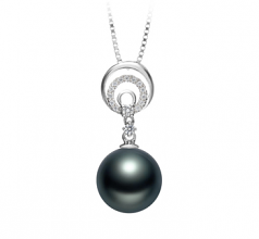 10-11mm AAA Quality Tahitian Cultured Pearl Pendant in Meredith Black