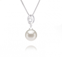 9-10mm AAAA Quality Freshwater Cultured Pearl Pendant in Kimberly White