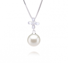 9-10mm AAAA Quality Freshwater Cultured Pearl Pendant in Taylor White