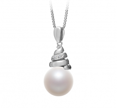 10-11mm AAAA Quality Freshwater Cultured Pearl Pendant in Romola White