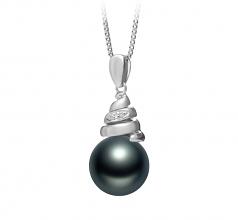 10-11mm AAA Quality Tahitian Cultured Pearl Pendant in Romola Black