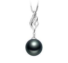10-11mm AAA Quality Tahitian Cultured Pearl Pendant in Loretta Black