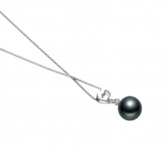 10-11mm AAA Quality Tahitian Cultured Pearl Pendant in Gabrielle Black