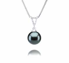 9-10mm AAA Quality Tahitian Cultured Pearl Pendant in Vondra Black