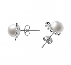 7-8mm AA Quality Freshwater Cultured Pearl Earring Pair in Marissa White