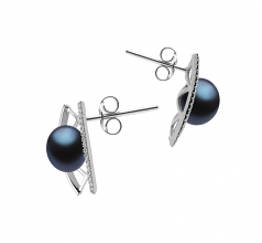 8-9mm AAA Quality Freshwater Cultured Pearl Earring Pair in Odelia Black