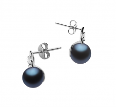 7-8mm AAAA Quality Freshwater Cultured Pearl Earring Pair in Star Black