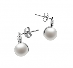 7-8mm AAAA Quality Freshwater Cultured Pearl Earring Pair in Star White