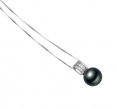 12-13mm AAA Quality Tahitian Cultured Pearl Pendant in Colette Black