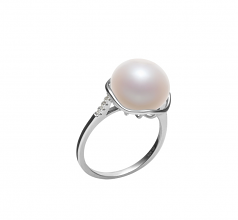 11-12mm AAA Quality Freshwater Cultured Pearl Ring in Kalina White