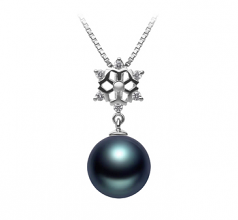 10-11mm AAA Quality Tahitian Cultured Pearl Pendant in Snow Black