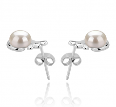 7-8mm AAA Quality Freshwater Cultured Pearl Earring Pair in Bikita White