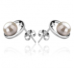 6-7mm AAAA Quality Freshwater Cultured Pearl Earring Pair in Sharon White
