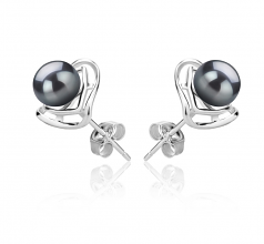 6-7mm AAAA Quality Freshwater Cultured Pearl Earring Pair in Rowan Black