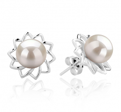 7-8mm AAAA Quality Freshwater Cultured Pearl Earring Pair in Morgan White