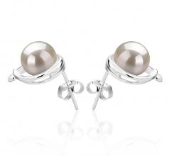 7-8mm AAAA Quality Freshwater Cultured Pearl Earring Pair in Raina White