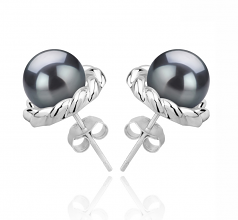 8-9mm AAAA Quality Freshwater Cultured Pearl Earring Pair in Bessie Black