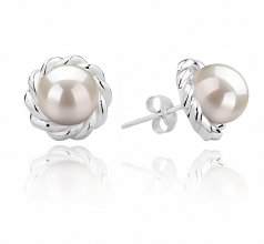 8-9mm AAAA Quality Freshwater Cultured Pearl Earring Pair in Bessie White