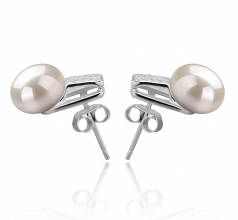 8-9mm AAA Quality Freshwater Cultured Pearl Earring Pair in Alina White
