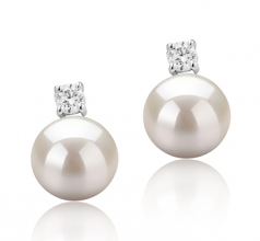 8-9mm AAAA Quality Freshwater Cultured Pearl Earring Pair in Eternity White