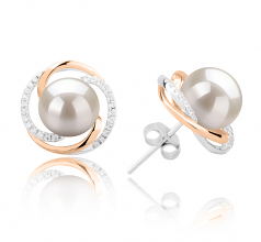 8-9mm AAAA Quality Freshwater Cultured Pearl Earring Pair in Zina White