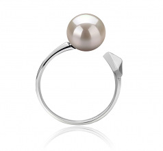 7-8mm AAAA Quality Freshwater Cultured Pearl Ring in Alma White