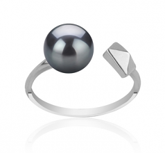 7-8mm AAAA Quality Freshwater Cultured Pearl Ring in Alma Black